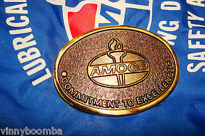 Vintage Amoco Oil Belt Buckle Commitment To Excellence Jadco Solid Brass ~~~~~~~