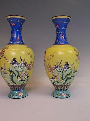 Pair Of Antique Chinese Enamel On Copper Vases, Artist Signed
