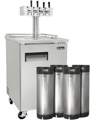 Four Tap Commercial Grade Home Brew Kegerator with Kegs - Stainless Steel