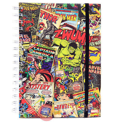Marvel Heroes Notebook Retro Hard Cover Spiral Bound College Ruled Notebook