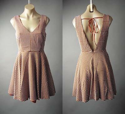 Textured Geometric Check Pattern Vtg-y 50s Low Back Fit&Flare 158 mv Dress S M L