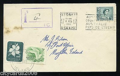 1962 AUSTRALIA Cover to NORFOLK ISLAND purple T Boxed 4d Surcharge + Stamps