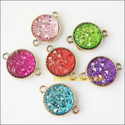 5 New Round Charms Acrylic Mixed Connectors Pendants 19x26.5mm