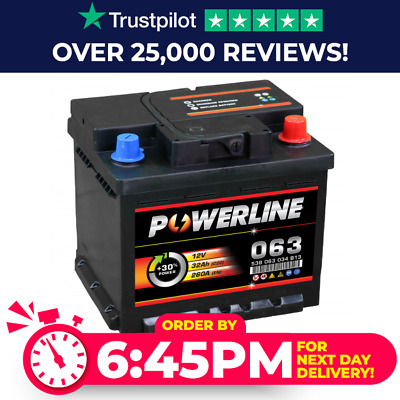 Powerline 063 12V Car Battery fits many Alfa Audi Citroen Ford Lotus Nissan