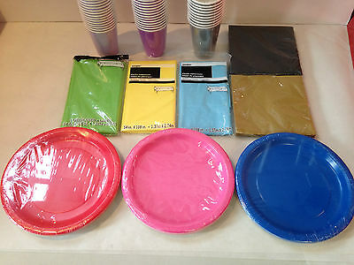 Solid Colour Tableware Pack For 40 People - 20 Colours Available - Party Set Kit