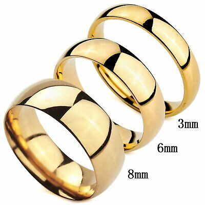 MENDINO Men's Women's Stainless Steel Ring Classic High Polished Round Band Gold