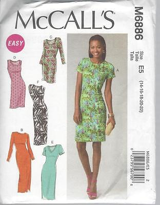 McCALL'S SEWING PATTERN MISSES' DRESSES SIZES 8 - 22 M6886