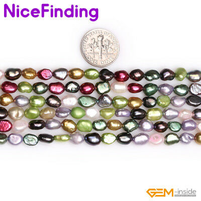 "5-6mm Freeform Freshwater Pearl Jewelry Making Loose Beads Gemstone 15"" In Bulk"
