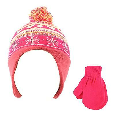 Winter 2pc Soft Baby Kids 0-2 Lined Beanie Knit Earflap Hat Gloves Set Fuchsia