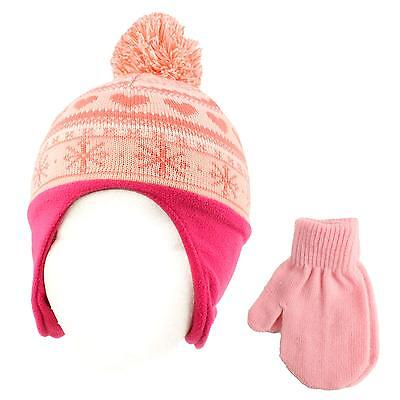Winter 2pc Soft Baby Soft Kids 0-2 Lined Beanie Knit Earflap Hat Gloves Set Pink