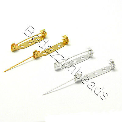 100 Locking 1 inch Long Bar Brooch Pin Craft Findings With Holes for Sew or Glue