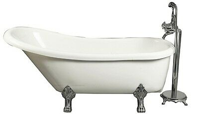 "ASTON GLOBAL 67"" x 28"" Claw Foot Slipper Tub in White with Floor-Mount Faucet"