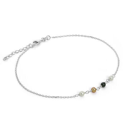 925 Sterling Silver & Pearl Anklet with Extender Chain 9 & 10 Inches