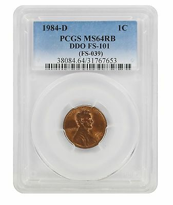 1984 - D Lincoln Cent PCGS MS64RB Double Die Obverse Cherrypicker FS-101 DDO