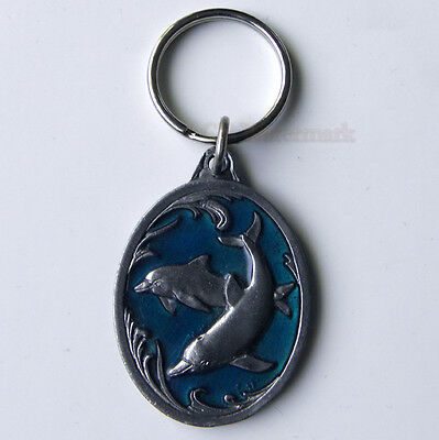 Classic Pewter Dolphin Dolphins Key Chain Keyring