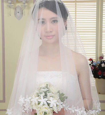 Elegant 1T White Elbow Length Wedding Bridal Flower Edge Veil Without Comb