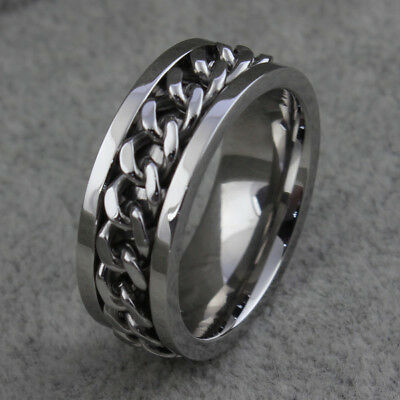 Stainless Steel Ring Rotatable Chain Silver Women's Man's Wedding Band Size 6-15