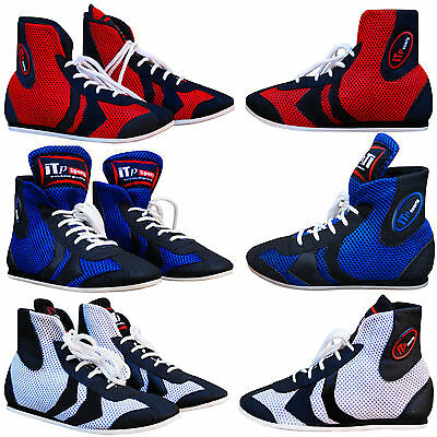 ZstarAX Leather & Mesh Boxing Shoes Martial Art Boxing Boots Juniors and Adults
