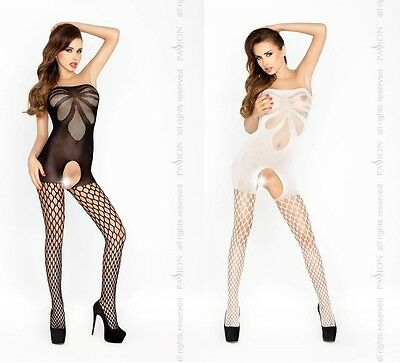 Sexy Bandeau Netz Bodystocking Ouvert Catsuit Netzbody Body Stocking Overall