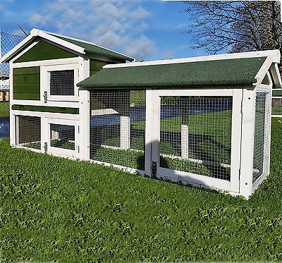 Large Rabbit Hutch Guinea Pig Hutches Run Large Tier Double Decker Cage - Green
