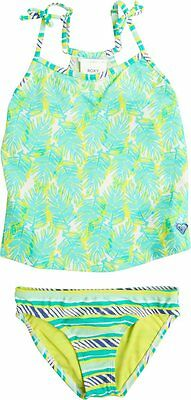 NWT Roxy -7- Girls 2 Pc Tankini Swimsuit Aqua Yellow Palm Print Bikini Swim Surf