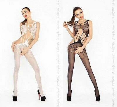 Sexy Netz Bodystocking Ouvert Catsuit Netzbody Body Stocking mit floralem Muster