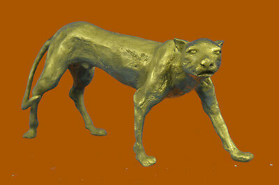 Real Bronze Cougar Panther Mountain Lion Statue Sculpture Statue Figurine Deal