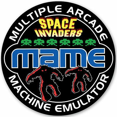 MAME - Retro Video Arcade Game Space Invaders Logo Sticker - 95mm Diameter si