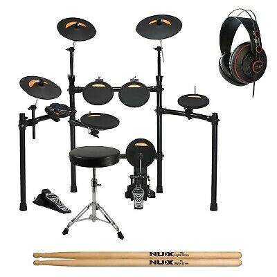 NuX DM2 8 Piece Digital Electronic Drum Kit + Headphones and Stool - New