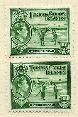 TURKS & CAICOS;  1938 early GVI issue fine Mint hinged 1/2d. PAIR ( base MNH )