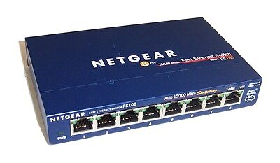 Netgear FS108 v2 8-Port 10/100Mbps Fast Ethernet Switch-  No Power Supply