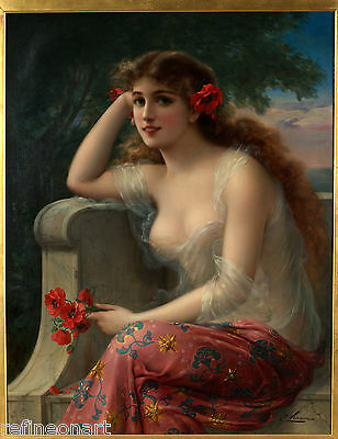 Handmade Oil Painting repro Emile Vernon Girl with a Poppy