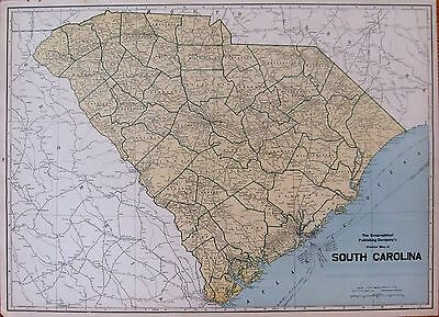 Uncommon SOUTH CAROLINA Map RARE SIZE Vintage 1931 Map - Hard To Find! 2220