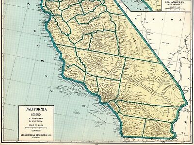 Uncommon CALIFORNIA Map RARE SIZE 1931 Map of California Gallery Wall Art 2224