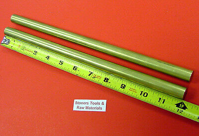 "2 Pieces of 5/8"" C360 BRASS SOLID ROUND ROD 12"" long New Lathe Bar Stock .625"""