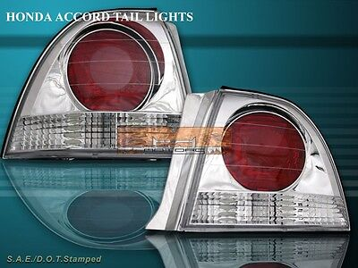 Car & Truck Lighting & Lamps 1994-1995 Honda Accord Tail Lights Halo Ring Chrome Clear Lens Rear Lamps PAIR