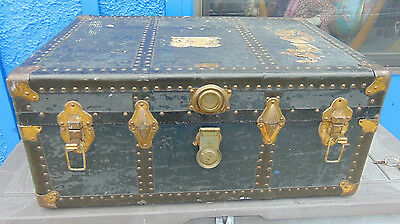 "Antique Neverbreak flat top steamer trunk keys 32"" x 21"" storage coffee table"