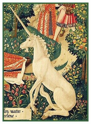 Medieval Unicorn detail Tapestry History St Stephen Counted Cross Stitch Pattern