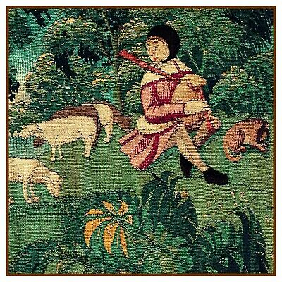 Medieval Shepherd Lambs detail History St Stephen Counted Cross Stitch Pattern