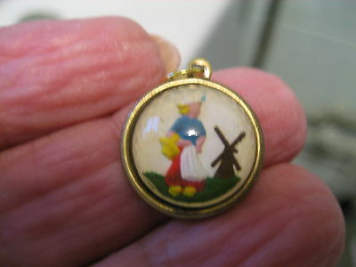 Reverse carved and  painted DUTCH GIRL and WINDMILL vintage intaglio cab pendant