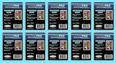 10 ULTRA PRO RECESSED SNAP STANDARD SIZE Trading Card Holder Sport Plastic Case