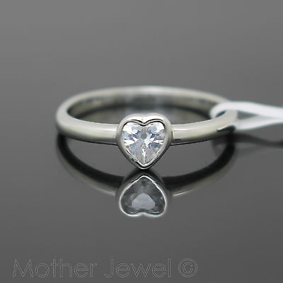 Love Heart Simulated Diamond Sterling Silver Plate Engagement Commitment Ring