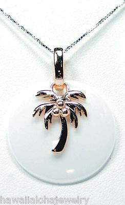 Round Disc White Ceramic Rose Gold On Sterling Silver Hawaiian Palm Tree Pendant