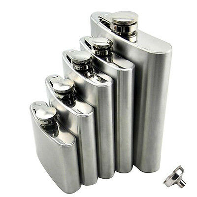 Stainless Steel Hip Liquor Whiskey Alcohol Pocket Flask 6 8 10 18 oz+Funnel+Cup