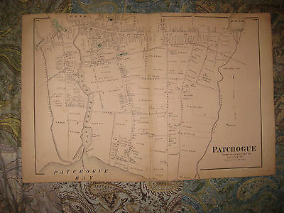 Antique 1873 Patchogue Suffolk County Long Island New York Handcolored Map