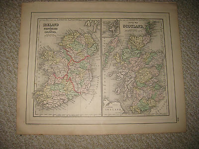 Fine Antique 1887 Ireland Scotland Mitchell Handcolored Map Railroad Superb Nr