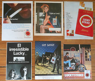 LUCKY STRIKE 6x Vintage ADS 1960s/90s Tobacco advert tabaco mini poster AD