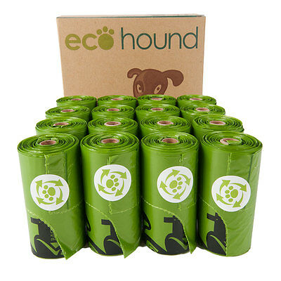 Ecohound SMALL Green Dog Poo Bags With Handles Eco Friendly Dog Waste Bag Rolls
