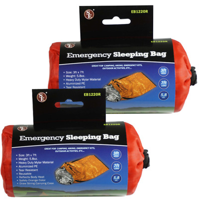 2 Pack Heavy Duty Emergency Solar Thermal Sleeping Bag Bivvy Sack Survival Camp