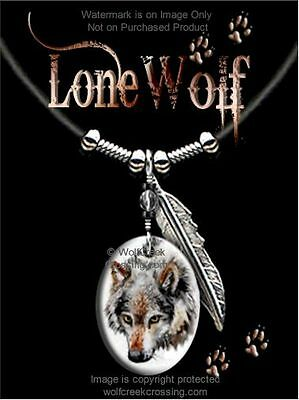 "Lone Wolf Necklace - Wildlife Art - Wild Nature Wolves - 24"" Leather  Free Ship*"